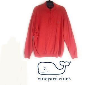 Vineyard Vines Half Zip Pullover Sweater Coral XL